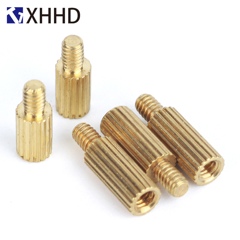 <font><b>M2</b></font> Brass Male Female Knurl Standoff Mount Single Round Threaded Pillar PCB Motherboard Spacer Hollow <font><b>Bolt</b></font> Screw M2xL+<font><b>3mm</b></font> image