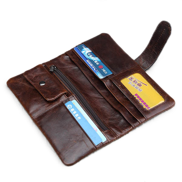 Aliexpress Buy Men Women Genuine Leather Long Wallet