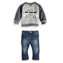 2015 Baby Kids Boys O-neck Pullover Car Bus Printed Shirt + Jeans Denim Trousers Set Outfit 1-6Y Swag Swagger