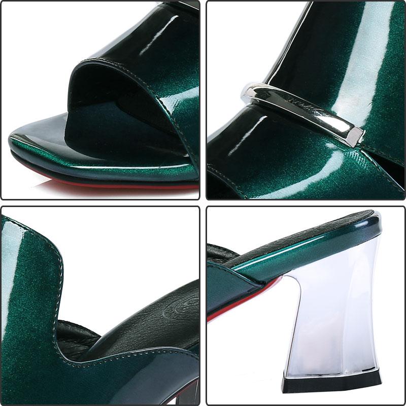 Tacón Verano Zapatos Fanyuan Verde Mujeres Elegante Cuero Green Mujer De Ourdoor Mules Zapatillas Flops Slide Alto Casual Glitter S4wdq1f