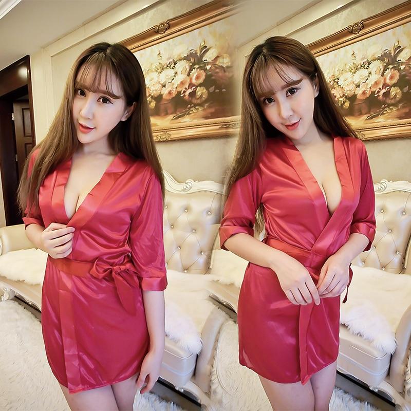 Women\'S Sexy Robe V-Neck Nightgown Mini Lace Sleep Shirts Female Bathrobe + Sexy Thong Underwear Women Sleepwear Night Dress
