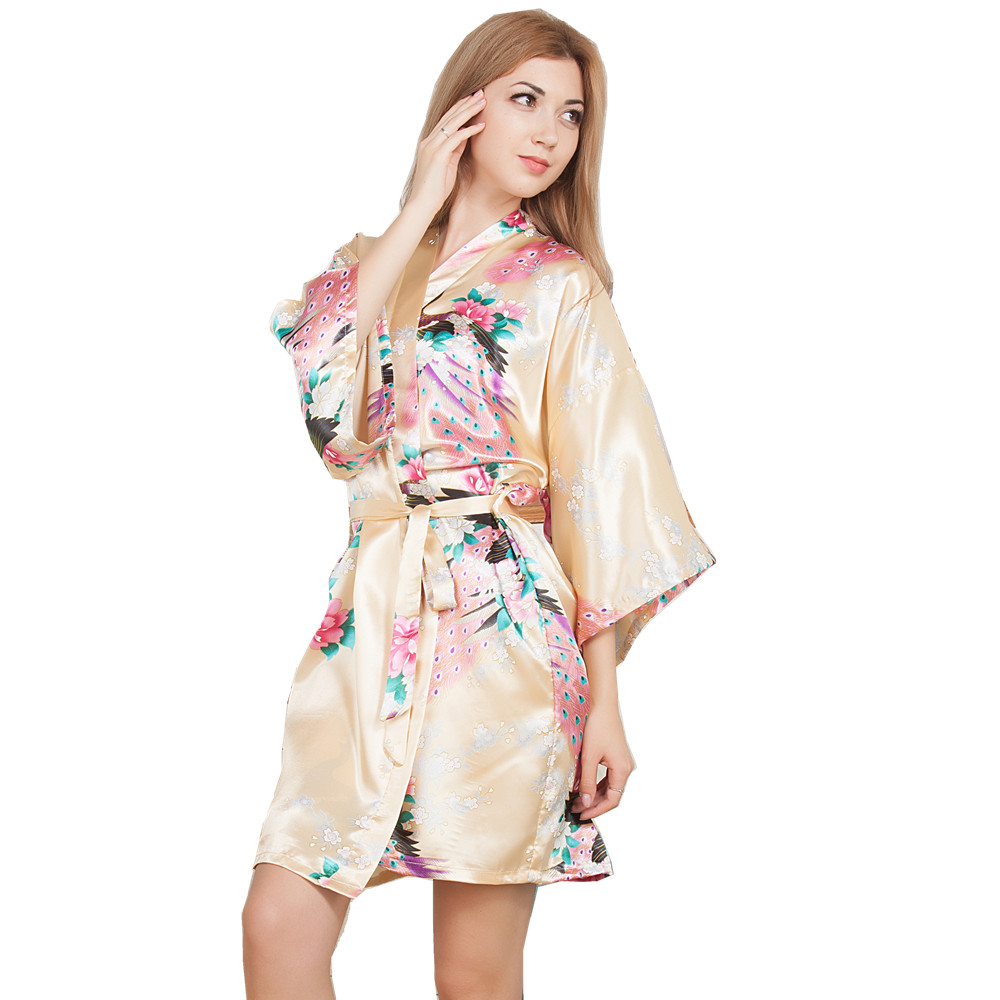 New Wedding Bride Bridesmaid Robe Floral Bathrobe Short Kimono Night Robe Bath Robe Fashion Dressing Gown For Women One Size T08