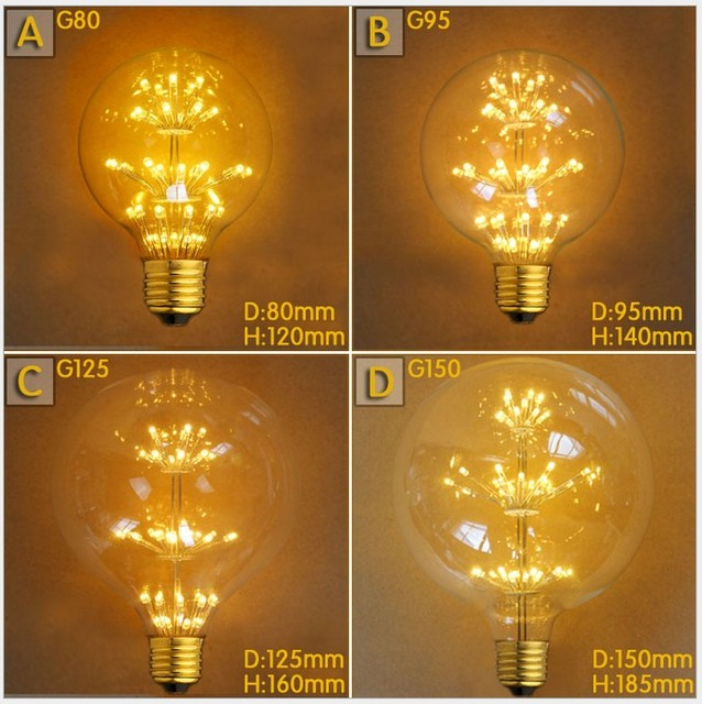 E27 Vintage Retro Firework Edison Bright 2W 220V Efficient Tree Filament Practical Light Bulb G80 G95 G125 Style Decoration