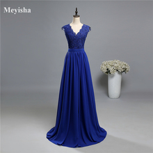ZJ5120 purple royal blue Dark Navy Blue V neck Evening Dress Lace 2017 Formal
