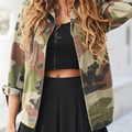Mujeres de Moda Casual Chaqueta de Abrigo Chaqueta de Camuflaje prendas de Vestir Exteriores Vaina Vogue Vaina Disposición Vogue Señoras Abrigo prendas de Vestir Exteriores