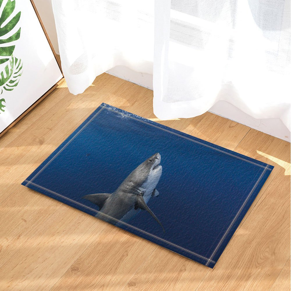 Sea Animals Decor, Sharks Swimming in Ocean with Fish Decor Bath Rugs, Non-Slip Doormat Floor Entryways Indoor