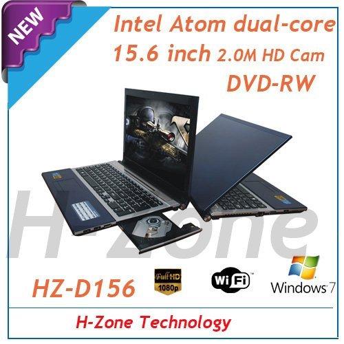 15.6 inch laptop with Intel Atom Dual core D2500 1.86Ghz processor 4GB RAM&320GB HDD DVD-RW HDMI Bluetooth 1.3MP webcam