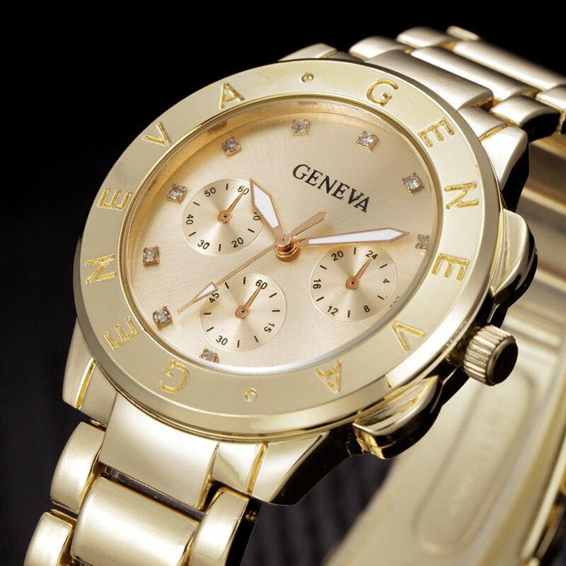 Nueva marca de Ginebra reloj mujeres de lujo marca reloj de cuarzo mujeres oro de acero inoxidable vestido reloj moda casual horas reloj femenino