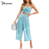 Women Spaghetti Strap Jumpsuit Bow Cutout Elastic Backless Midriff Baring Loose Causal Hollow Out Adjustable Cotton