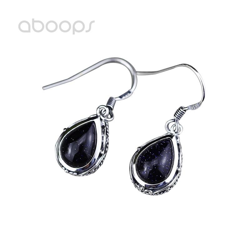 купить Vintage 925 Sterling Silver Water Drop Blue Sandstone Dangle Earrings for Women Girls Free Shipping онлайн