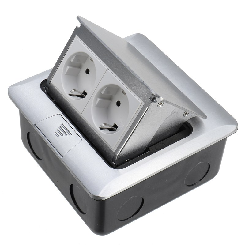 Aluminum Silver Panel EU Standard 2 Way Pop Up Floor Socket Electrical Outlet Modular Combination Customized Available Sockets