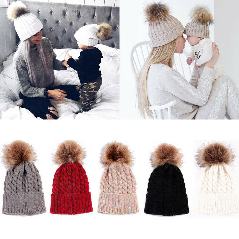 2018 Fashion Cute Mother Baby Knitting Pom Bobble Hat Winter Warm Beanie Knitted Matching Cap