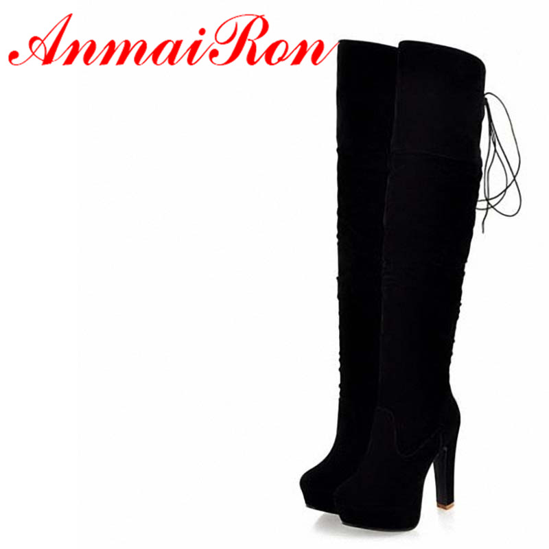 ANMAIRON Sexy Over Knee High Boots For Women Fashion Thin Fur Boots Warm Casual Flat Shoes