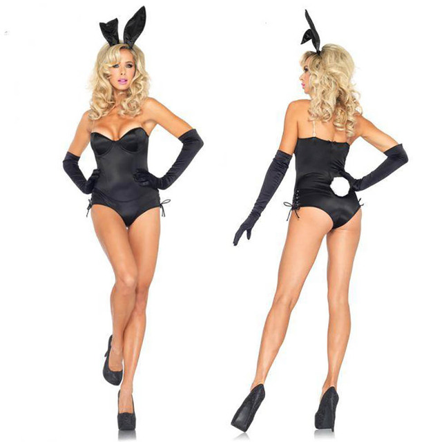 sexy bunny babe costume adult easter bunny role play costume black bodysuit party fancy dress halloween