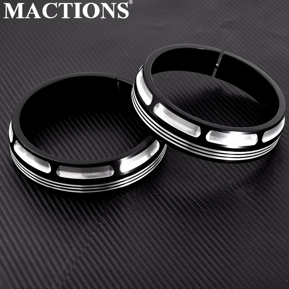 "Motorcycle Burst Collection Trim Ring 4 1/2"" Auxiliary Lamps Headlight For Harley Touring Electra Glide Street Glide FLHX 1Pair-in Covers & Ornamental Mouldings from Automobiles & Motorcycles    1"