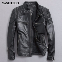 Real Leather Hot Sale Winter Fashion Mens Black Color Genuine Leather Mens Wear Top Quality Zipper