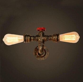 أسلوب معدن مزدوج أنابيب المياه مصباح الصناعي لوفت خمر الجدار الخفيفة للمنازل السرير اديسون الجدار الشمعدان لامبارا باريد