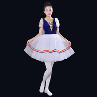 Short Sleeve Professional Girl Tutu Ballet Costumes Blue Adult Swan Lake Dance Dress Stage Ballroom Dance Wear