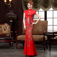 Chinese Traditional Wedding Dress Cheongsam Sexy Qipao Long Red Oriental Style Dresses China Clothing Store Bride