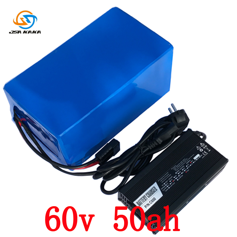 Free shipping  60v 4000w E-Bike Electric Bicycle battery 60v 50ah  For Panasonic cell ebike li-ion battery pack with 5A Charge free customs taxes electric bike 36v 40ah lithium ion battery pack for 36v 8fun bafang 750w 1000w moto for panasonic cell