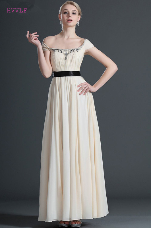 Beige Evening Dresses 2018 A-line Cap Sleeves Chiffon Beaded Bow ...