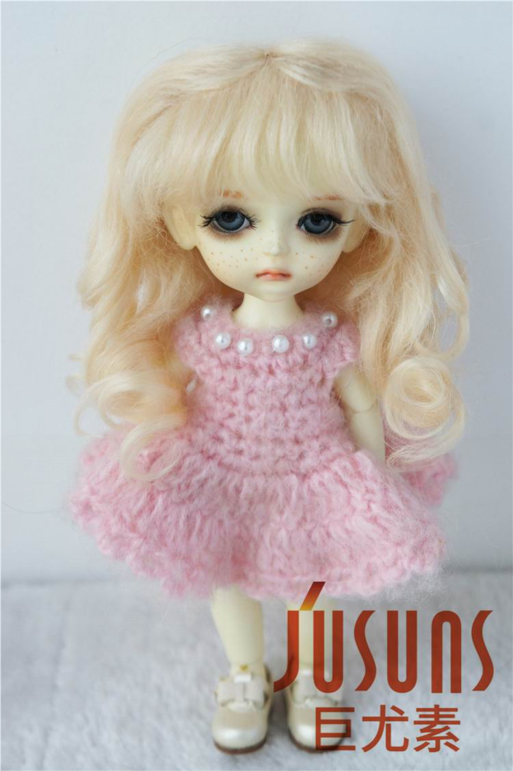D20313 1/8  BJD  mohair  wig  Lati yellow dol hair   Princess Long curly  Wigs  5-6 inch doll accessories fashion black hair extension fur wig 1 3 1 4 1 6 bjd wigs long wig for diy dollfie