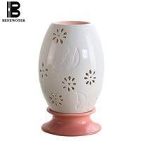 220V Fashion Hollow Aroma Lamp Ceramic Essential Oil Burner Electric Fragrance Lamp Bedroom Night Light Incense Burners Diffuser
