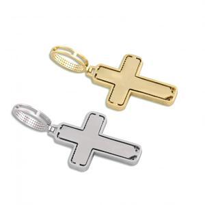 Image 3 - Collier pendentif croix glacé pour hommes/femmes, Micro pavé, Hip Hop, couleur or argent, chaîne à breloques scintillantes, bijoux