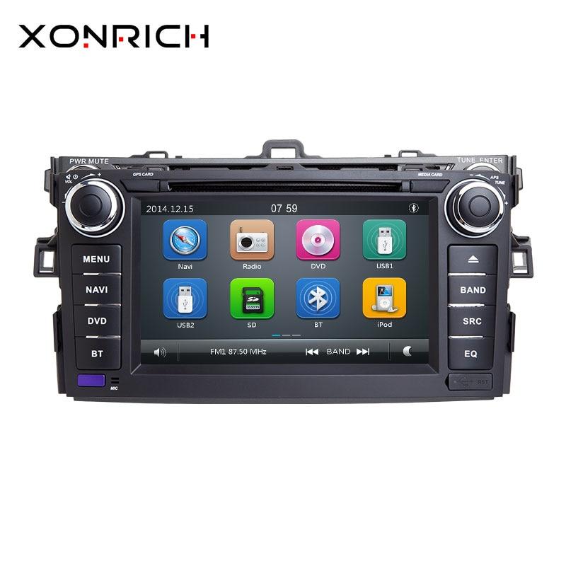 Autoradio 2 Din Auto Lettore DVD Per Toyota AURIS Toyota Corolla Altis 2012 2013 Nastro Registratore Multimediale GPS Stereo di Navigazione