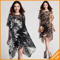Новое прибытие 2017 женщины лето повседневный корейский boho сексуальная свободные большие цветы печати леопарда Нерегулярные хем vestidos сарафан dress #231