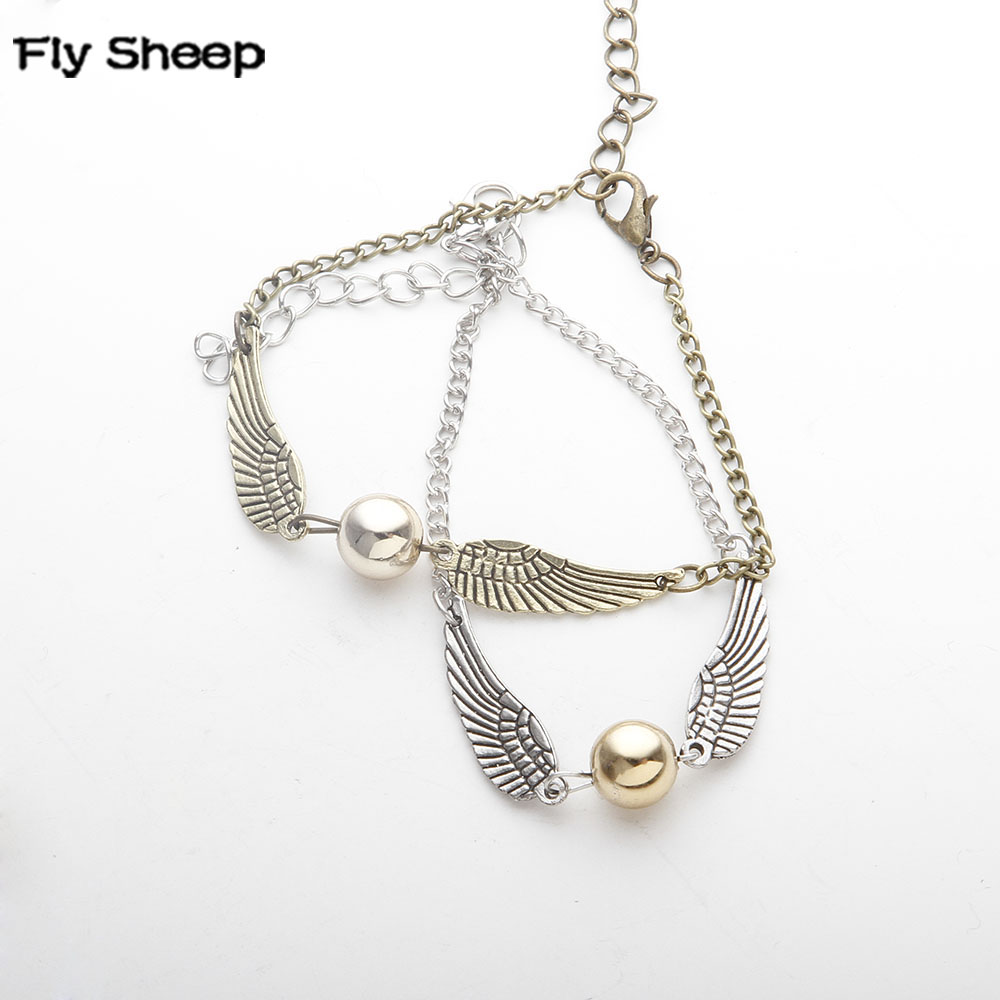 Fine Movies Jewelry Magic Academy Deathly Hallows Bracelets Golden Snitch Flying Wings Harry Chain Bangles For Women Men Jewelry
