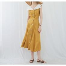 19SS French style pure linen hourglass high waist bright yellow vintage long dress 2019 summer beach