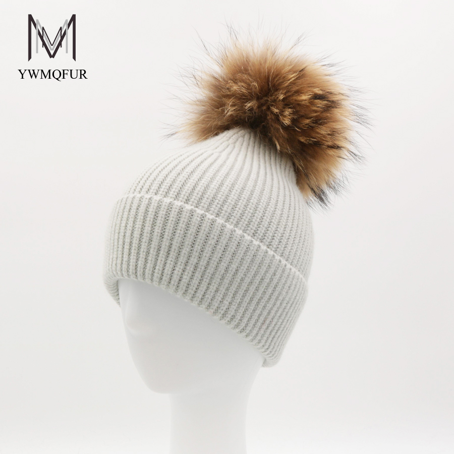 YWMQFUR New real raccoon fur pom poms winter hat for women warm wool beanie knitted hat for girl thick female wool cap gorros brand new 100% cotton soft and warm winter caps for boy with detachable natural color real raccoon fur pom poms kids hat girl