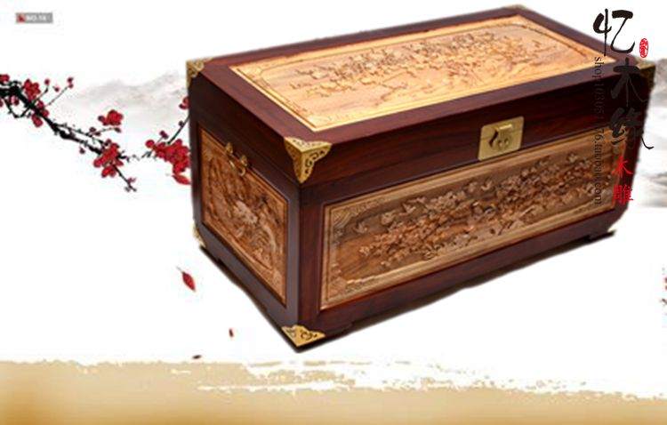 Zhangmu Zhangmu wooden box wood box suitcase marriage insect clothes painting collection box dongyang woodcarving camphor wood furniture wood carved camphorwood box suitcase box antique calligraphy collection box insect d