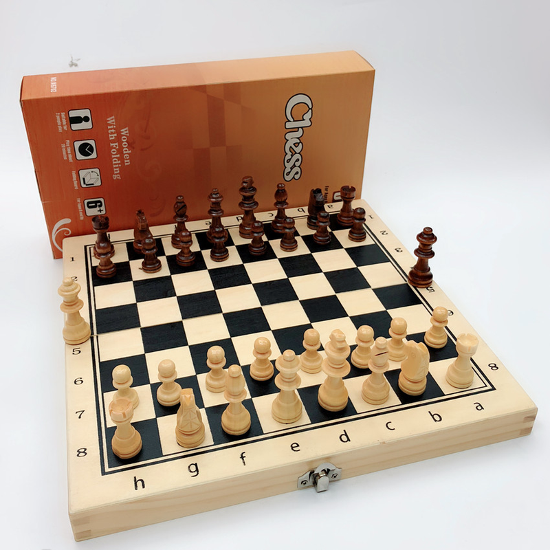 Magnetic Solid Wood Folding Chess Board Panel Wooden Printing  Tablero Ajedrez Profesional Entertainment Checkers & Chess