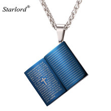 New Blue Bible Book Necklace Pendant Stainless Steel/Gold Color Rope Chain Cross Christian Jewelry Men 2017 Wholesale GP2436
