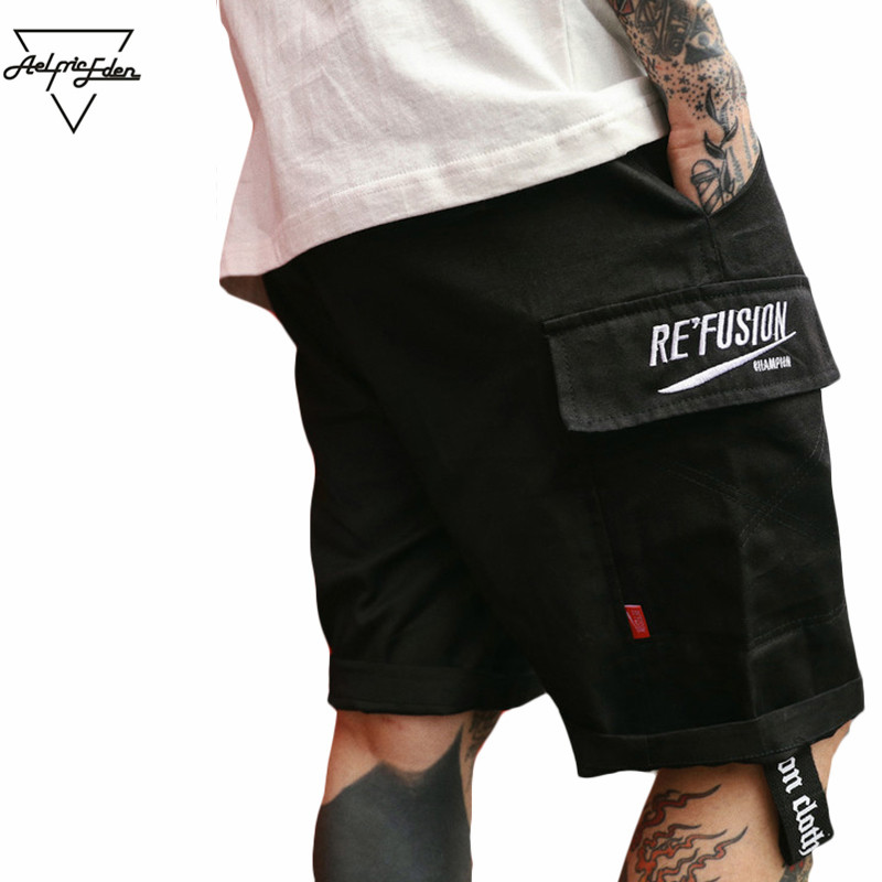 c9d5aeea Summer Shorts Men Kanye West Cargo with Pockets Ribbons Knee Length ...