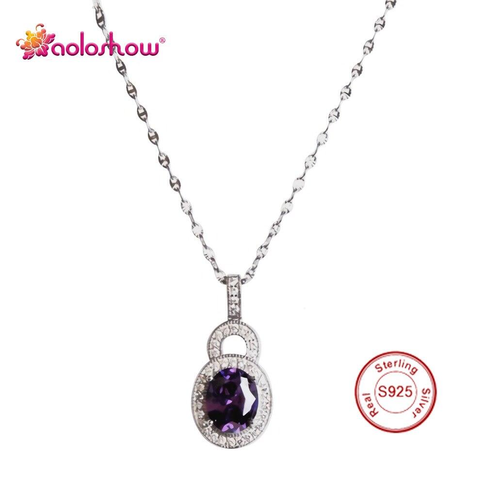 AOLOSHOW collier de mariage en argent Sterling 925 de luxe avec pierres précieuses naturelles collier de mariée en cristal AAA collier de mariée amour ras du cou Nl-2320