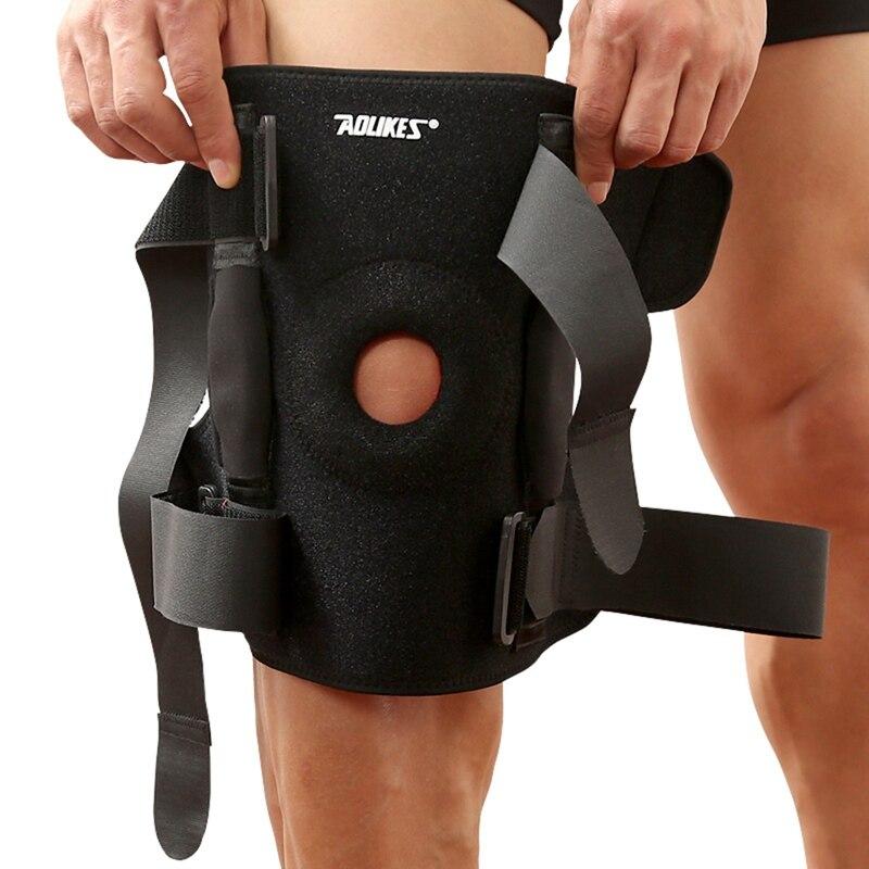 1 pièces genouillère polycentrique charnières professionnel sport sécurité genou soutien noir genouillère garde protecteur sangle