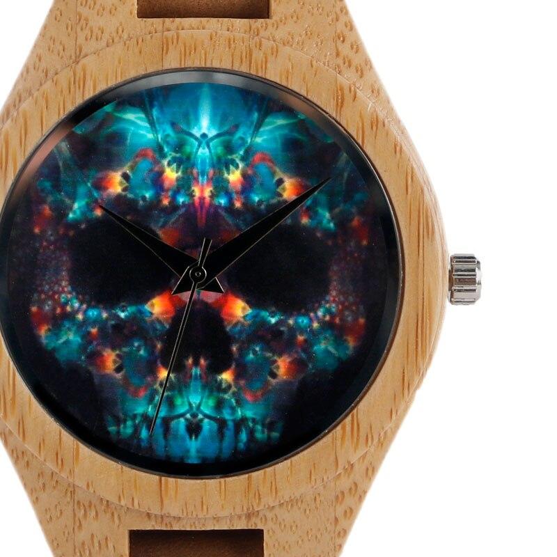 Hot Casual Brown Genuine Leather Band Strap Wood Wrist Watch Quartz Analog Modern Skull Dial Women Men Bamboo Wooden Gift