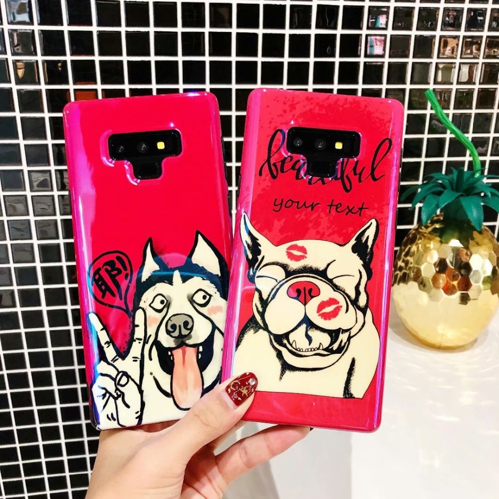 Note 9 Cute Dog Case For Samsung Galaxy Note 9 8 S9 S8 Plus Case Blue Light Soft IMD Cover Coque For Galaxy Note9 Case Fundas