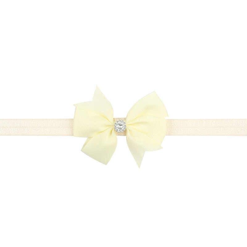 20 цветов модные милые для девочек с единорогом нарядная лента бант с эластичная повязка на голову со стразами волосы резинки одежда аксессуары для волос