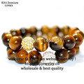 Tiger eye round agate beads bracelet, crystal gold and silver shambala stone stretch bracelet for men