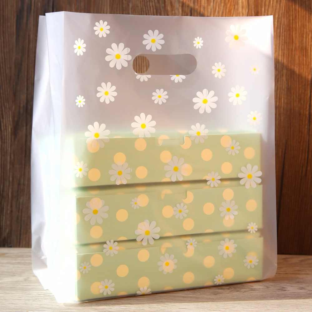 Translucent Daisy plastic bags, plastic bags, semi-transparent favor bags, plastic bags for boxes  50pcs/lot
