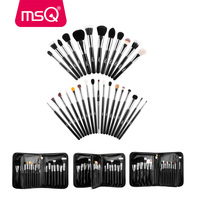 MSQ Professional 29pcs Goat Hair Makeup Brushes Cosmetic Brush Tool Kit With a Black Leather Bag