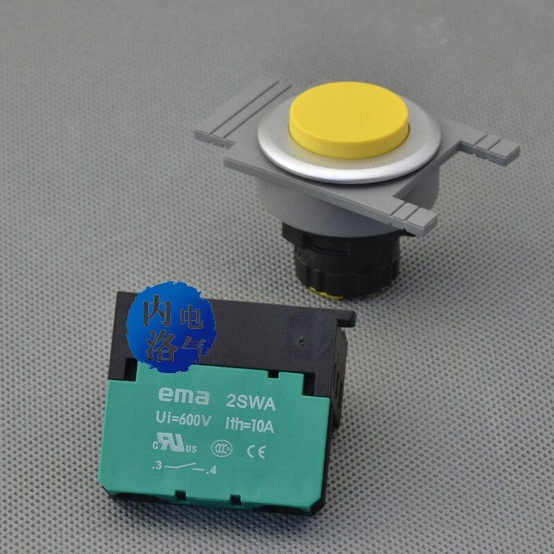 [SA] EMA 30 мм кнопочный переключатель с подсветкой самовосстанавливающийся E3P2* цвет красный, желтый синий и черный 1NO/1NC без света-10