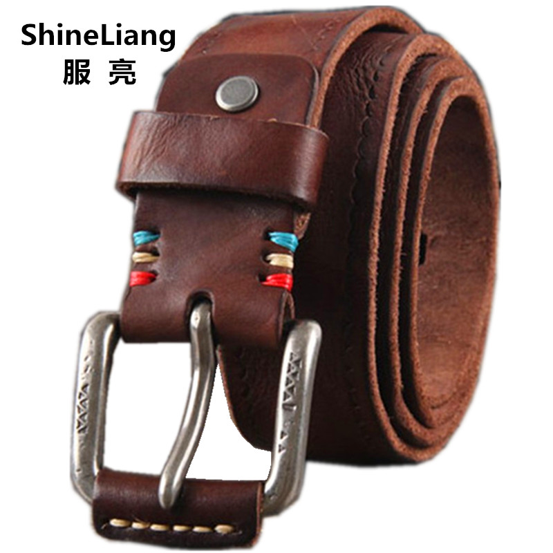 Cowhide Genuine Leather Belts men brand Strap male pin buckle fancy vintage jeans strap male cintos