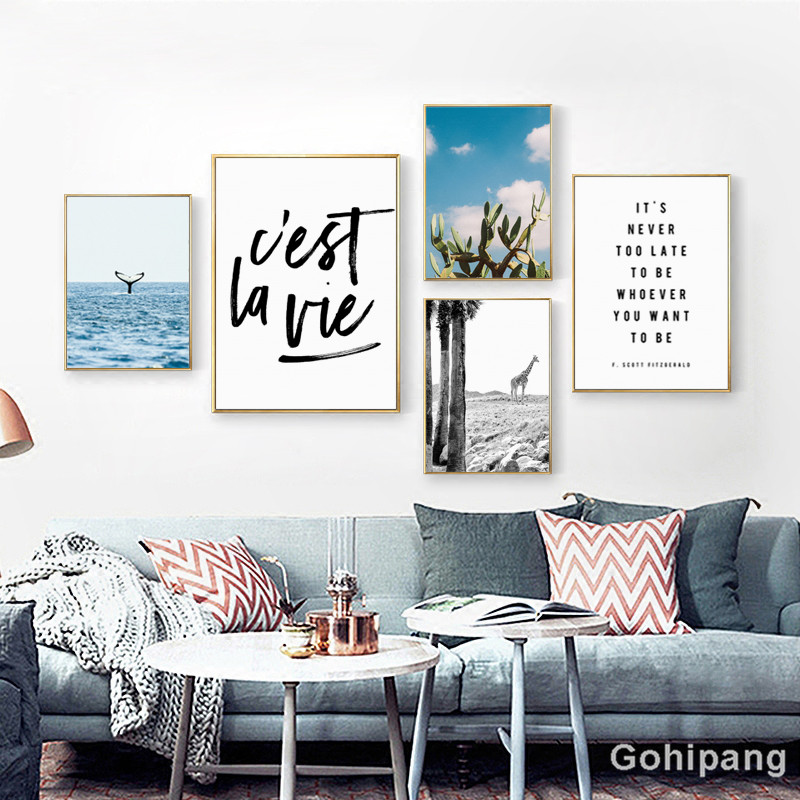 Gohipang Nordic Landscape Decoration Whale Giraffe Phrase Canvas Painting Posters And Prints Living Room Wall Art Picture Home