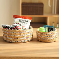 Natural Straw Storage Basket Handmade Vintage Woven Bin For Snack Sundries Organize Living Room Home Decoration