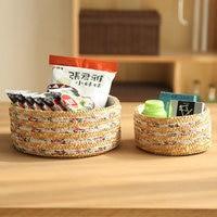 Natural Straw Storage Basket Handmade Vintage Woven Bin For Snack Sundries Organize Living Room Home Decoration